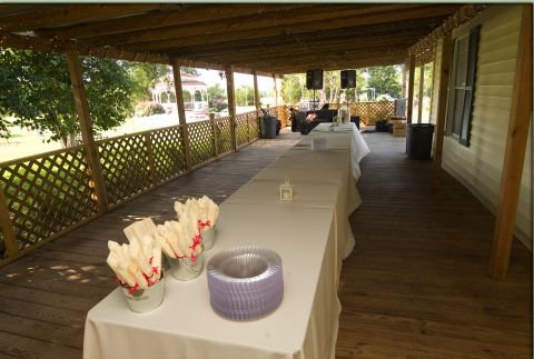 porch front buffet outdoor wedding reception