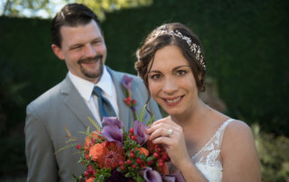 garden wedding bride groom portrait